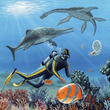 richard-bizley-diver-and-prehistoric-life-artwork