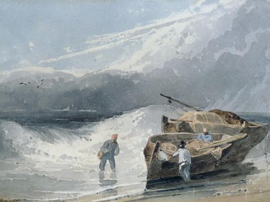richard-parkes-bonington-coastal-view-with-fishermen-and-boats-storm-clouds-beyond-1820
