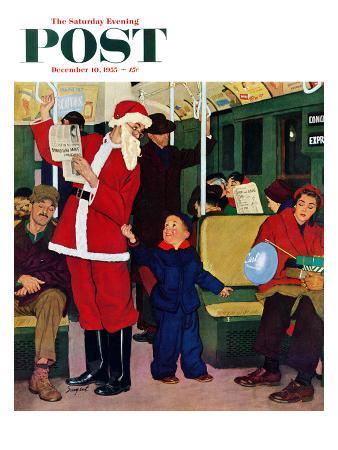 richard-sargent-giving-santa-his-seat-saturday-evening-post-cover-december-10-1955