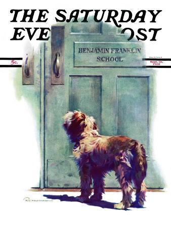robert-c-kauffmann-dog-waiting-for-schoolboy-saturday-evening-post-cover-september-10-1938