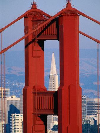 Golden Gate Bridge Tower And Transamerica Building San