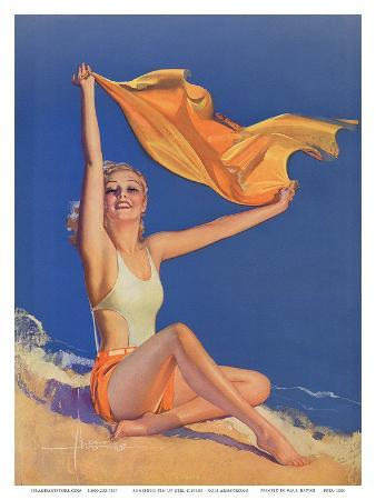 rolf-armstrong-sunshine-pin-up-girl-c-1940s