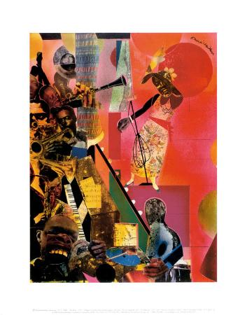 the blues art print by romare bearden at artcom
