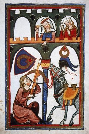 rubin-in-a-castle-sending-a-message-to-his-loved-with-a-crossbow-codex-manesse-ca-1300