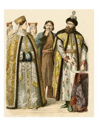 Russian Boyars Or Nobles During The Time Of Peter The