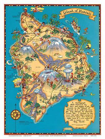 Hawaiian Island of Hawaii (Big Island) Map - Hawaii