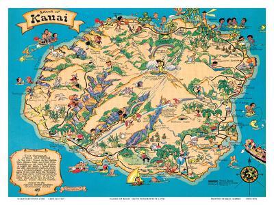 Hawaiian Island Of Kauai Map Hawaii Tourist Bureau Art Print By - World map hawaii
