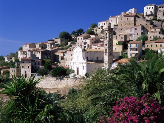 ruth-tomlinson-view-of-church-and-village-on-hillside-lumio-near-calvi-mediterranean-france