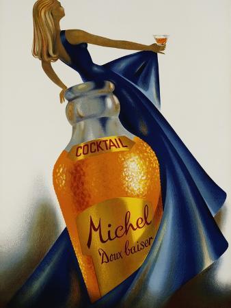 s-henchoz-cocktail-michel-doux-baiser-advertising-poster