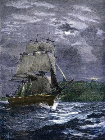 sailing-ship-passing-a-lighthouse-marking-the-way-to-home-port-1800s