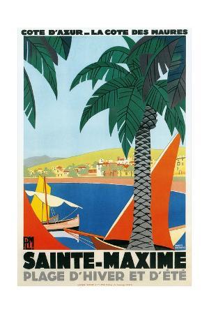 sainte-maxime-cote-de-azure-french-travel-poster