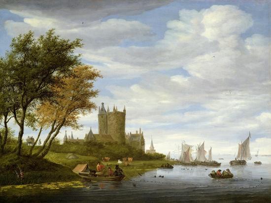 salomon-van-ruisdael-or-ruysdael-river-estuary-with-a-castle