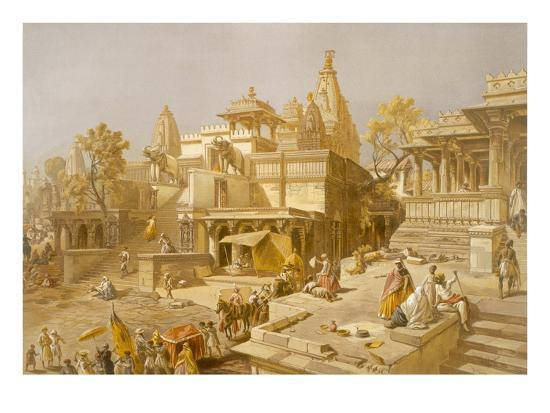 salvador-dali-the-temple-of-juggernauth-oodepoore-from-india-ancient-and-modern-1867-colour-litho