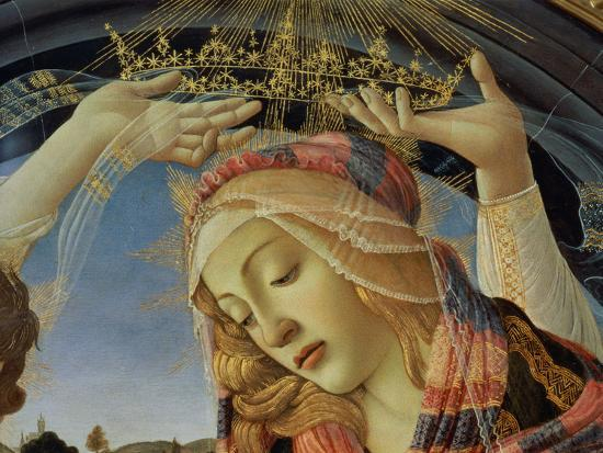 sandro-botticelli-the-madonna-of-the-magnificat-detail-of-the-virgin-s-face-and-crown-1482