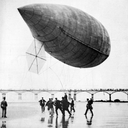 santos-dumont-s-airship-departing-from-trouville-france-1905