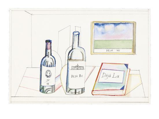 saul-steinberg-bottles-labeled-st-78-deja-bu-and-book-labeled-deja-lu-on-desk-with-pi-new-yorker-cartoon
