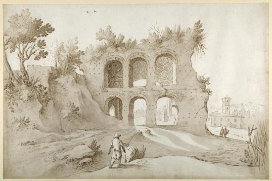 sebastian-vrancx-basilica-of-constantine-entrance-wall-in-a-fantastic-setting-pen-and-ink-with-wash-on-paper