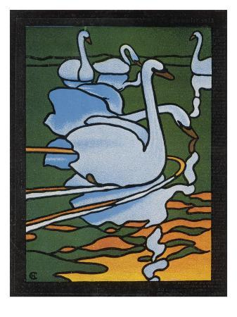 second-of-two-designs-for-stained-glass-depicting-swans-in-the-water-cygnus-olor