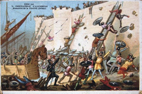 seige-of-paris-by-the-normans-19th-century-colour-lithograph-private-collection
