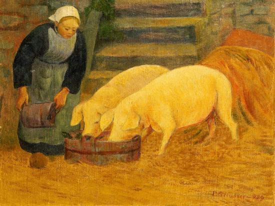 serusier-a-young-girl-feeding-two-pigs-1889