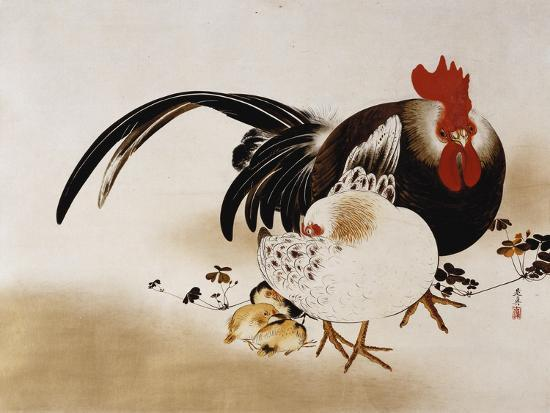 shibata-zeshin-cockerel-hen-and-chicks-1892-hanging-scroll-colored-lacquer-on-prepared-paper