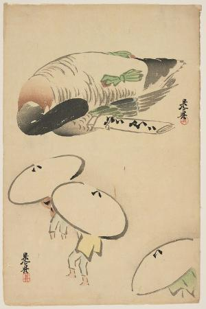 shibata-zeshin-pheasant-three-men-with-umbrellas