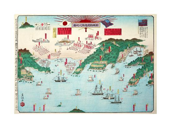 shusai-kokuo-the-map-showing-the-first-interview-between-the-japanese-and-americans-at-kurehama-1853