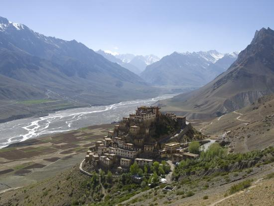 simanor-eitan-backlit-view-of-kee-gompa-monastery-complex-from-above-spiti-himachal-pradesh-india