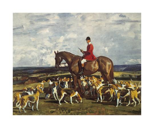 sir-alfred-munnings-stanley-barker-and-the-pytchley-hounds
