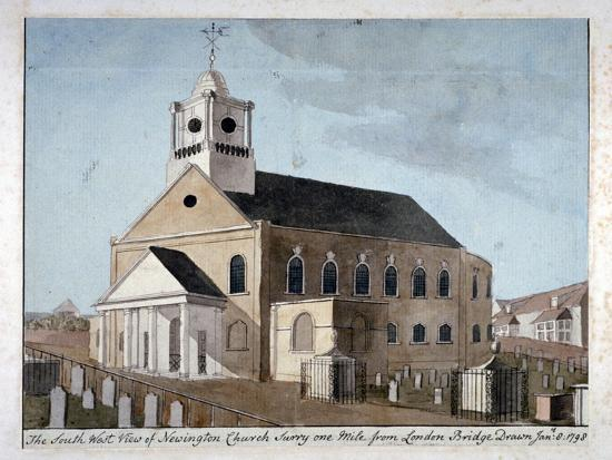south-west-view-of-the-church-of-st-mary-newington-newington-butts-southwark-london-1798