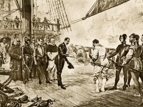 spanish-armada-s-admiral-surrenders-his-sword-to-francis-drake-c-1588