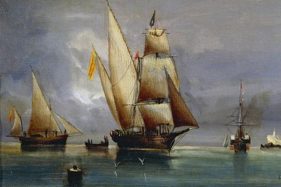 spanish-xebec-oil-on-canvas-by-cheri-dubreuil-19th-century