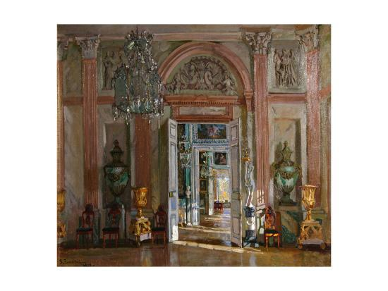 stanislav-yulianovich-zhukovsky-the-great-vestibule-in-the-kuskovo-palace-1917