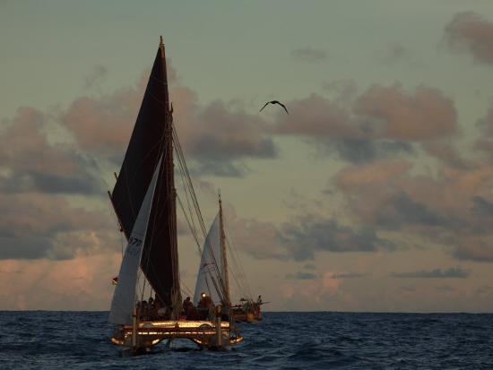 stephen-alvarez-hokule-a-a-double-hulled-canoe-and-a-polynesian-voyaging-canoe