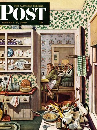 stevan-dohanos-after-dinner-dishes-saturday-evening-post-cover-january-8-1949