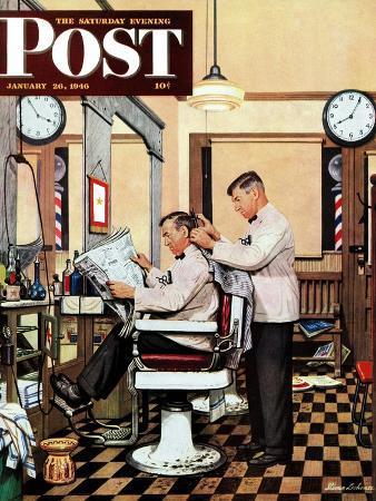 stevan-dohanos-barber-getting-haircut-saturday-evening-post-cover-january-26-1946
