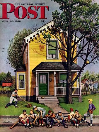 stevan-dohanos-baseball-player-mowing-the-lawn-saturday-evening-post-cover-july-20-1946