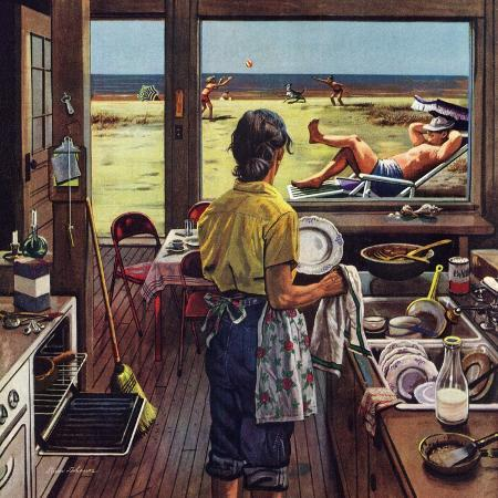 stevan-dohanos-doing-dishes-at-the-beach-july-19-1952