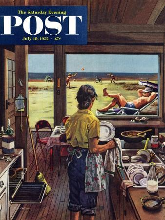 stevan-dohanos-doing-dishes-at-the-beach-saturday-evening-post-cover-july-19-1952