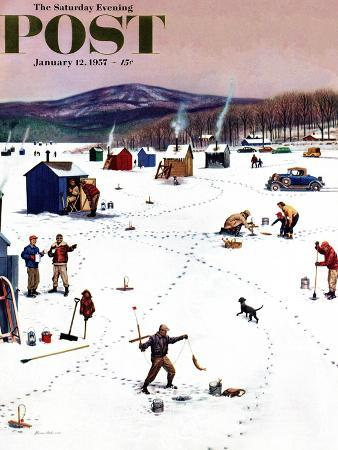 stevan-dohanos-ice-fishing-camp-saturday-evening-post-cover-january-12-1957