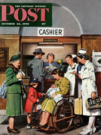 stevan-dohanos-leaving-the-hospital-saturday-evening-post-cover-october-22-1949