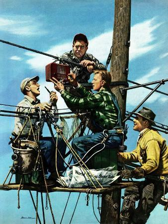 stevan-dohanos-linemen-listen-to-world-series-october-4-1952