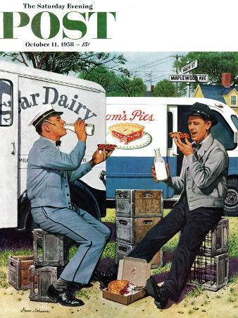 stevan-dohanos-milkman-meets-pieman-saturday-evening-post-cover-october-11-1958