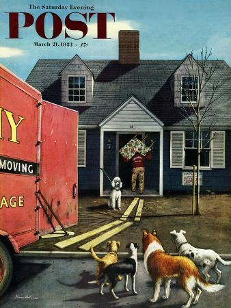 stevan-dohanos-new-dog-in-town-saturday-evening-post-cover-march-21-1953
