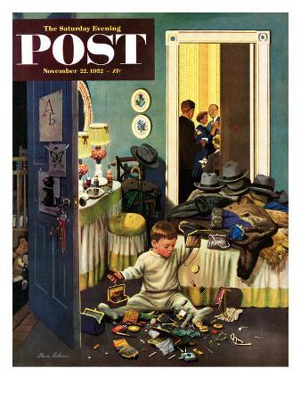 stevan-dohanos-toddler-empties-purses-saturday-evening-post-cover-november-22-1952