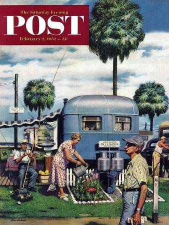 stevan-dohanos-trailer-park-garden-saturday-evening-post-cover-february-2-1952