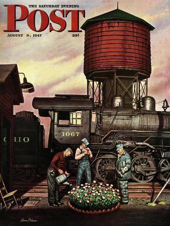 stevan-dohanos-trainyard-flower-garden-saturday-evening-post-cover-august-9-1947
