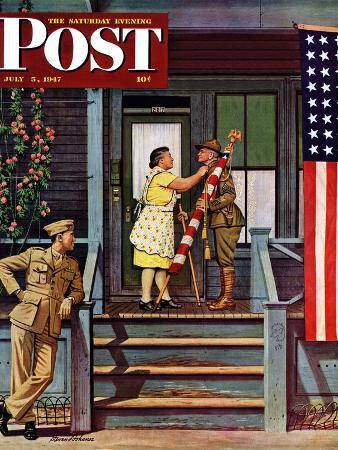 stevan-dohanos-two-generations-of-vets-saturday-evening-post-cover-july-5-1947
