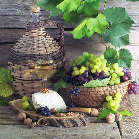 still-life-with-white-wine-grapes-cheese-and-walnuts
