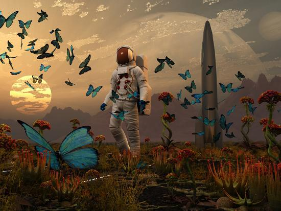 stocktrek-images-a-astronaut-is-greeted-by-a-swarm-of-butterflies-on-an-alien-world
